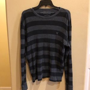Men's ls shirt aeo black and gray large